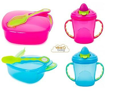 Vital Baby On the Go Travel Weaning Bowl & Soft Flip Spout Baby Sippy Cup