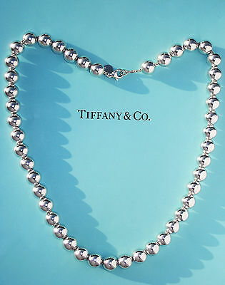 Tiffany & Co Sterling Silver 10mm Bead 18.25 Inch Necklace