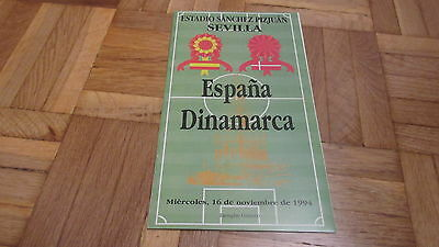 Official programme Spain vs. Denmark 1994 wc qualification game