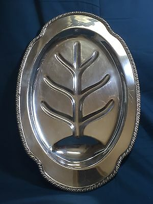 Footed Silverplate Meat Platter Oneida Community HADDON Pattern Tudor Plate