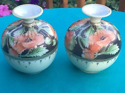 Antique Pair Art Nouveau Nippon Vases - Nippon Floral Ball Vase - Matched Set