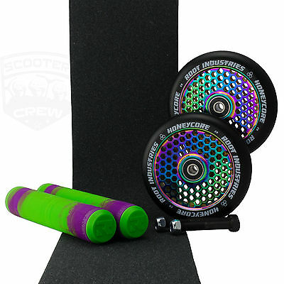 Root Ind Honeycore 110mm NeoChrome Scooter Wheels Purple Green Grips +Tape Axles