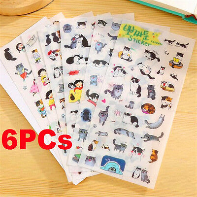 6 Sheets Stickers Cat Album Diary Calendar Stickers Label Scrapbooking Craft ♫