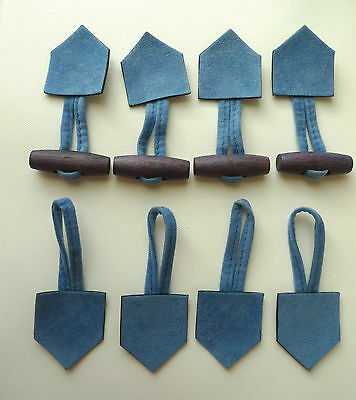4 Blue Faux Suede Duffle Coat Looped Wooden Toggles / Buttons