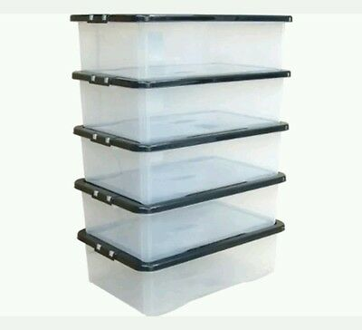 5 x 28LTR Underbed Plastic Clear Storage Box Container Lid SALE !