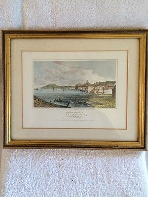 Vintage Antique 19th C colour Topographical print Falmouth Cornwall