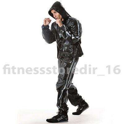 Everlast Black Super Sweat Hooded Sauna Suit - Boxing - Training - Size: LG/XL