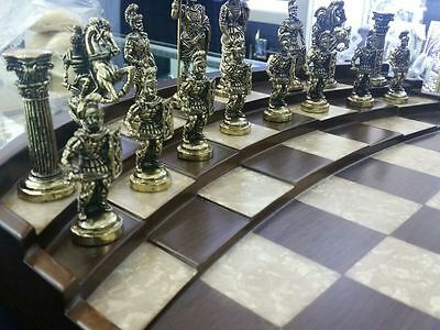 Chess set Roman Gladiators made of Bronze - Handmade chessboard / wood and pearl