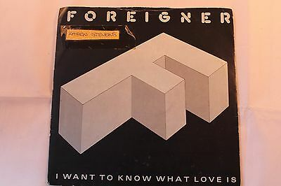 """Foreigner I Want To Know What Love Is Street Thunder. Cat A9596. 7"""" Single. 1984"""