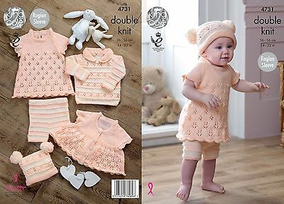 KINGCOLE 4731 BABY DK KNITTING PATTERN  14-22 IN -not the finished garments