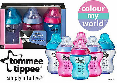 Tommee Tippee Closer To Nature Colour My World Feeding Bottles 260ml x6 - Pink