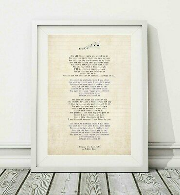 288 Celine Dion - Because You Loved Me - Song Lyric Poster Print - Sizes A4 A3