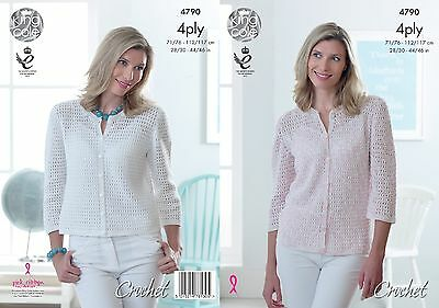 KINGCOLE 4790 Ladies 4ply CROCHET PATTERN  sizes28/46IN-not the finished cardis