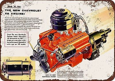"""1955 Chevrolet V-8 Engine 10"""" x 7"""" Reproduction Metal Sign"""