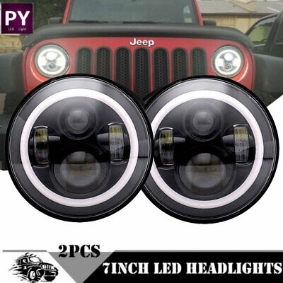 7inch Black LED Headlights Upgrade Hi/Low Beam round Kit for VW Beetle Classic