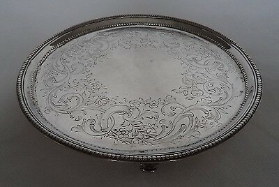 18Th Century George Iii 1783 Sterling / Solid Silver Calling Card Salver / Tray