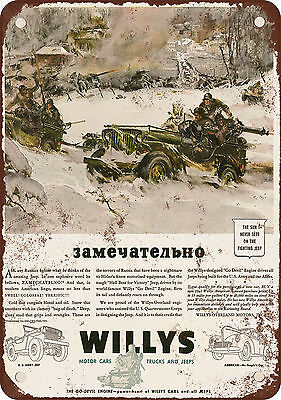 "1943 Willys Army Jeeps 10"" x 7"" Reproduction Metal Sign"