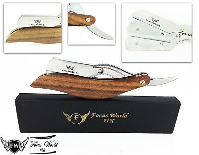 Fw®- Barber Salon Straight Cut Throat Wet Shaving Razor Shavette Rasoir Wooden