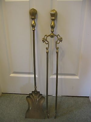 "Large Pair of Antique Victorian Fire Irons - Coal Tongs & Shovel - 28"" Long"