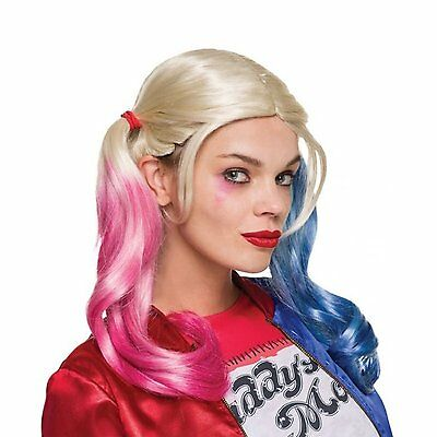 Official Harley Quinn WIG Suicide Squad Pig Tail Blue Pink Fancy Dress Accessory