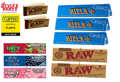 Blue Slim Rolling Papers RAW Clipper Flint Set Juicy Jay Flavored Paper Raw Tips
