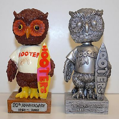 Pair Lot 2 Hootie Owl 20Th Anniversary (1983-2003) Hooters Bobblehead Surfing