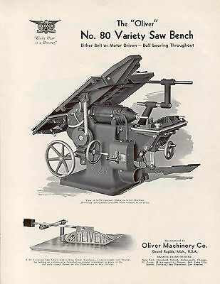Oliver No.80 Varity Saw Bench  Brochure