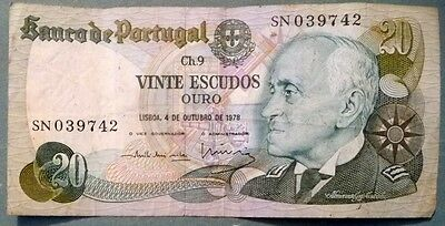 PORTUGAL 20 ESCUDOS NOTE ISSUED 04.10. 1978, P 176 b