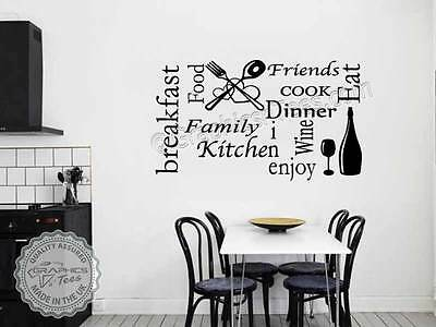 Kitchen Wall Stickers Word Cloud Montage Cooking Quote Wall Art Graphic Decal