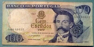 PORTUGAL 100 ESCUDOS NOTE ISSUED 30.11. 1965, P 169 a