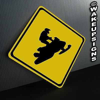 SNOWMOBILE CROSSING SIGN ALUMINUM metal collectible mancave garage