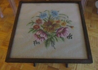 Antique Victorian Needlepoint Tapestry Wooden Tilt Top Table and Fire Screen