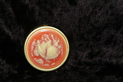 Pink Cameo Victorian Style Courting Couple Pill Box