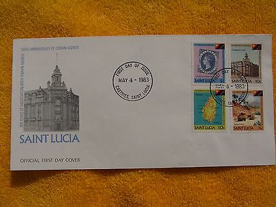 SAINT LUCIA-RARITÄT-FDC-Ersttagsbrief-150 YEARS OF ASSOCIATION WITH CROWN -1981
