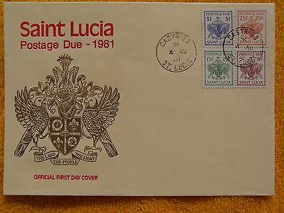 SAINT LUCIA-RARITÄT-Ersttagsbrief-Postage Due-1981-Offical First Day Cover