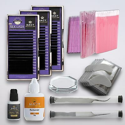 Wimpernverlängerung Set Einzelwimpern Silk Luxusklasse Macy 3 Mix Boxen Wimpern
