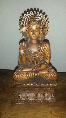 """Solid Wood Hand Carved Buddha Sidharta Sculpture Statue 9"""" x 5"""""""