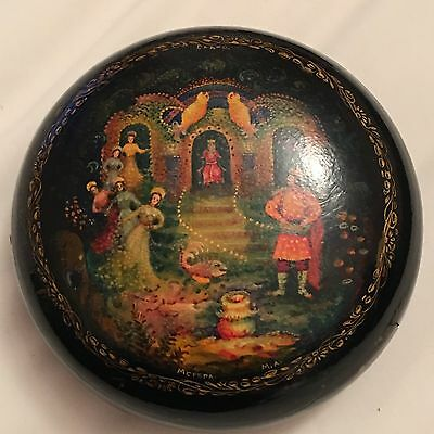 Vintage Pre 1991 USSR Russian Painted Black Lacquered Box Mctera MA CAAKO