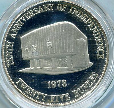 Mauritius 1978 25 Rupees, 10th Ann. of Independence, KM#44 Proof Silver w coa
