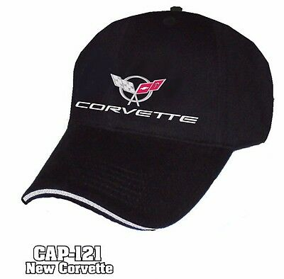 Black Chevrolet C5 C6 Corvette Emblem Logo Hat Cap Liquid Metal Adjustable