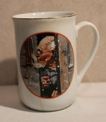 """Collector Mug """"Winter"""" by Norman Rockwell China Coffee Mug/Tea Cup Gold Rimmed"""