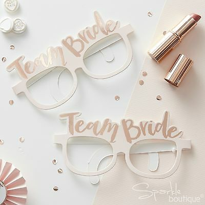 TEAM BRIDE HEN PARTY GLASSES x 8 - Novelty Hen Do Photo Booth Props - Rose Gold