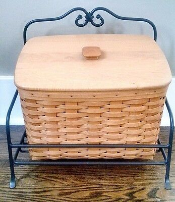 Longaberger NEWSPAPER BASKET, LID, DIVIDED PROTECTOR, WROUGHT IRON STAND