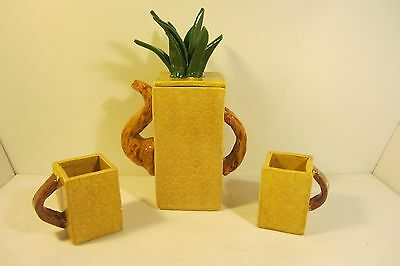 Unique Ceramic Pineapple Pitcher With 2 Mugs