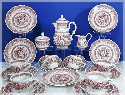 Hutschenreuther Maria Theresia Windsor rot KAFFEESERVICE 6 Pers., Top, wie neu