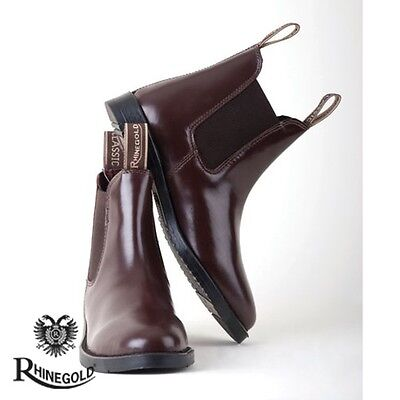 Rhinegold Adults Classic Leather Jodhpur Boots – Size 6, BROWN  **FREE P&P**