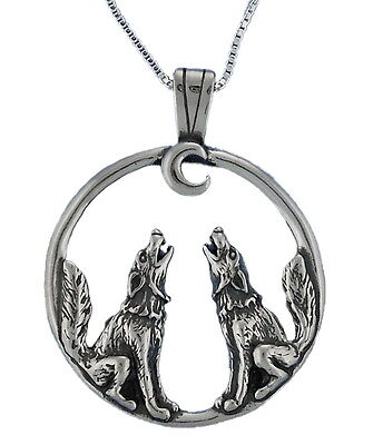 "Wolves Howling at the Moon Necklace Sterling Silver 18"" Box Chain Animal"