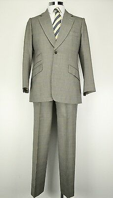 "40"" Reg Tommy Nutter Vintage Savile Row Suit Prince of Wales Check 1970s"