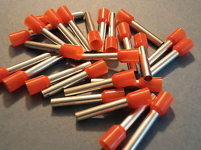 ORANGE 4.0mm x 18mm extra long pin FERRULE CRIMP (BOOTLACE CRIMPS)  QTY = 10