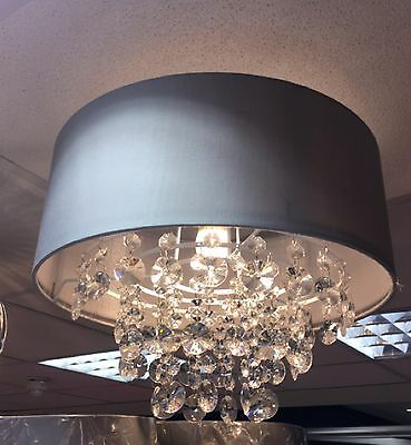 New Large Grey Jewel Droplet Shade Chandelier Light Pendant Lightshade Ceiling